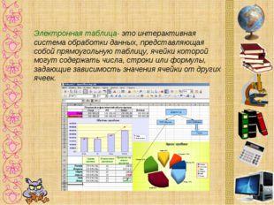 Электронная таблица- это интерактивная система обработки данных, представляющ