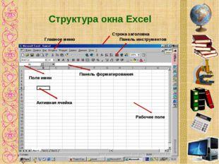 Структура окна Excel Строка заголовка Панель инструментов Главное меню Панель
