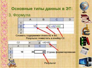Основные типы данных в ЭТ: 3. Формула Сложить содержимое ячеек А2 и B2. Резул