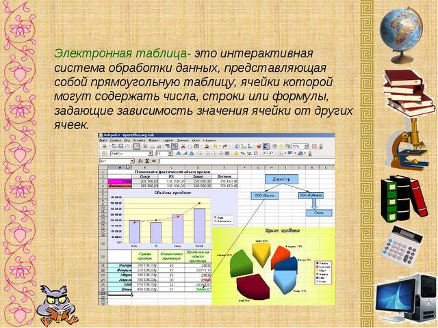 Электронная таблица- это интерактивная система обработки данных, представляющ...