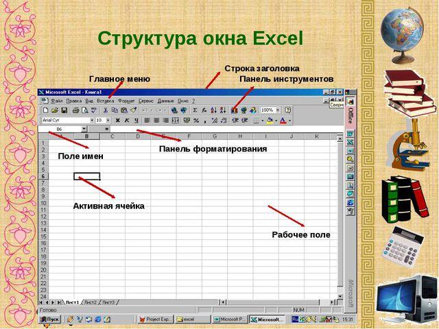Структура окна Excel Строка заголовка Панель инструментов Главное меню Панель...
