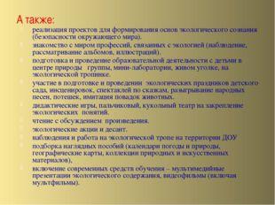 А также: реализация проектов для формирования основ экологического сознания (