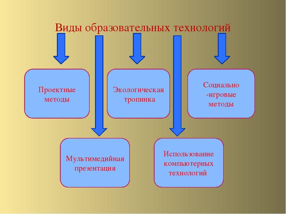 Виды образовательных технологий Проектные методы Мультимедийная презентация Э...