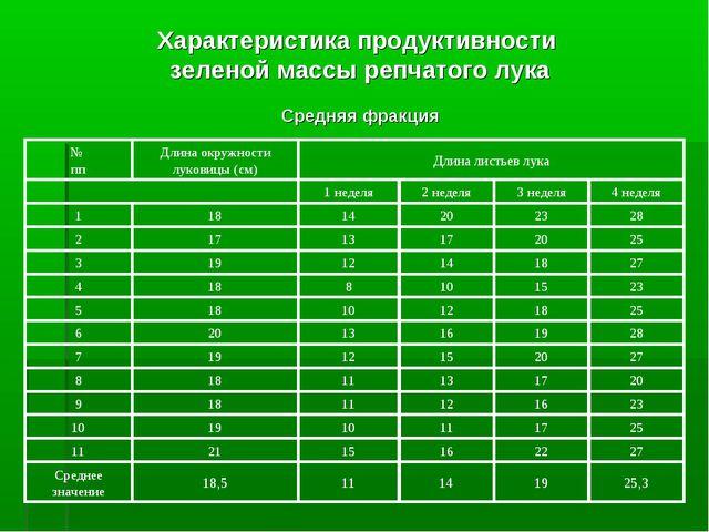 Характеристика продуктивности зеленой массы репчатого лука Средняя фракция 25...