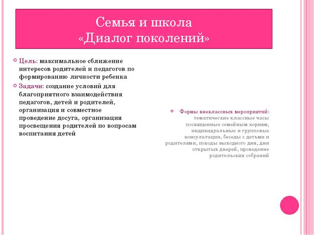 Цель: максимальное сближение интересов родителей и педагогов по формированию...