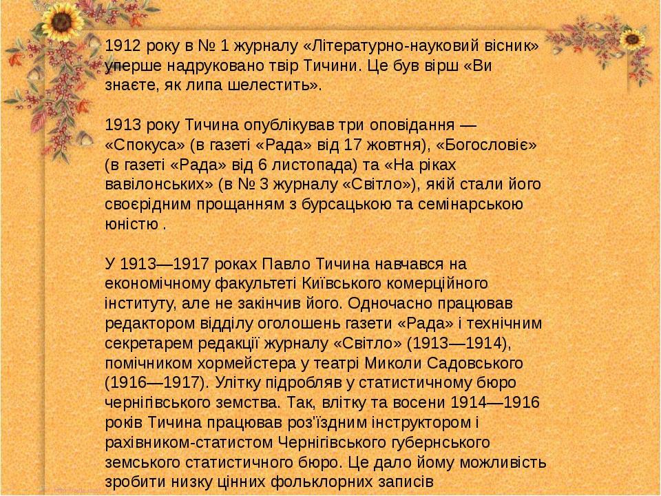 1912 року в № 1 журналу «Літературно-науковий вісник» уперше надруковано твір...