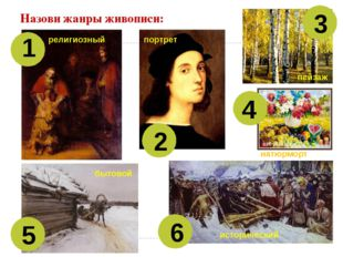 Назови жанры живописи: 1 2 3 4 5 6 религиозный портрет пейзаж натюрморт бытов