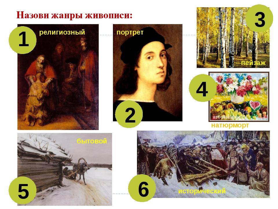 Назови жанры живописи: 1 2 3 4 5 6 религиозный портрет пейзаж натюрморт бытов...