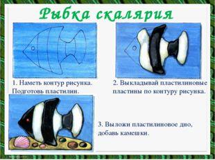Рыбка скалярия 1. Наметь контур рисунка. Подготовь пластилин. 2. Выкладывай п