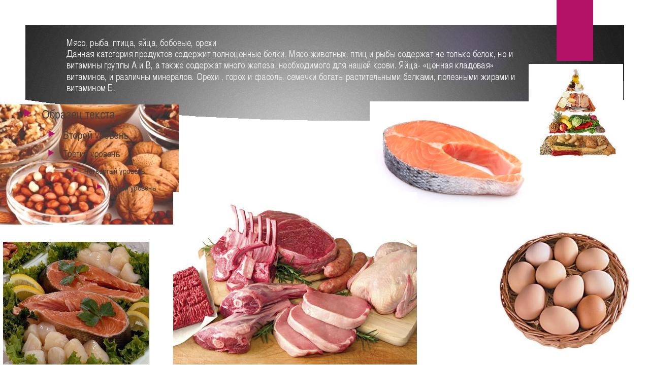 Мясо, рыба, птица, яйца, бобовые, орехи Данная категория продуктов содержит п...