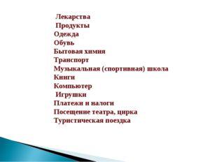 Лекарства Продукты Одежда Обувь Бытовая химия Транспорт Музыкальная (спортив