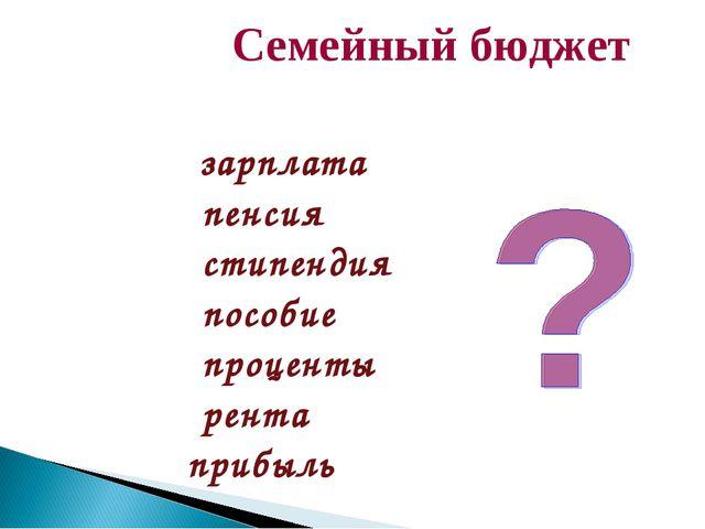 Семейный бюджет ДоходыРасходы зарплата пенсия стипендия пособие проценты р...
