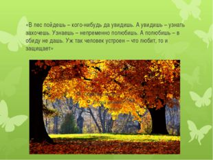 «В лес пойдешь – кого-нибудь да увидишь. А увидишь – узнать захочешь. Узнаешь