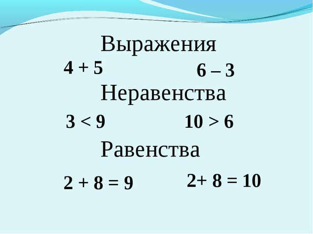 Выражения 4 + 5 6 – 3 Неравенства 3 < 9 10 > 6 Равенства 2 + 8 = 9 2+ 8 = 10