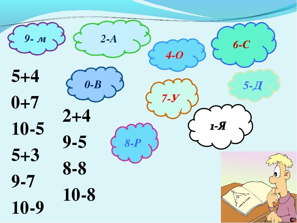 9- м 0-В 2-А 6-С 5-Д 4-О 7-У 8-Р 5+4 0+7 10-5 5+3 9-7 10-9 2+4 9-5 8-8 10-8