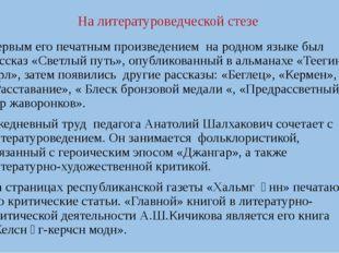 На литературоведческой стезе Первым его печатным произведением на родном язык