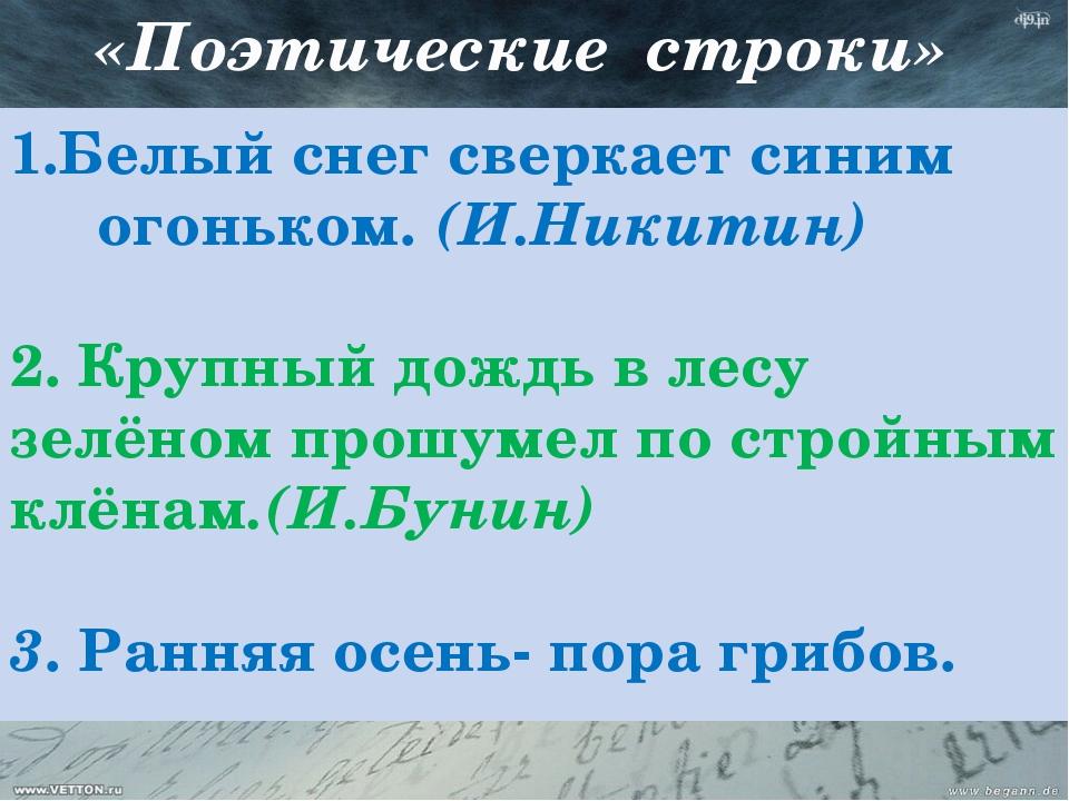 «Поэтические строки» 1.Белый снег сверкает синим огоньком. (И.Никитин) 2. Кр...