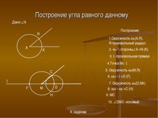 Построение угла равного данному Дано:A Построение: A 1.Окружность 1(A,R), R
