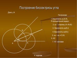 Построение биссектрисы угла Дано:A A Построение: 1.Окружность 1(A,R), R-про