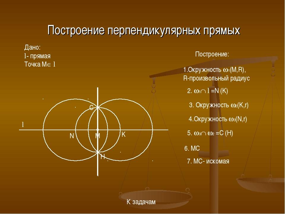 Построение перпендикулярных прямых Дано: l- прямая Точка M l l M 1.Окружност...