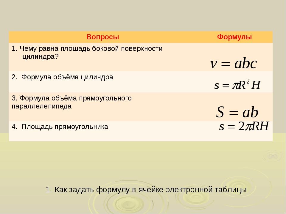 1. Как задать формулу в ячейке электронной таблицы ВопросыФормулы 1. Чему ра...