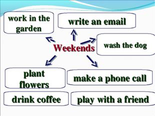 Weekends plant flowers play with a friend make a phone call work in the gard