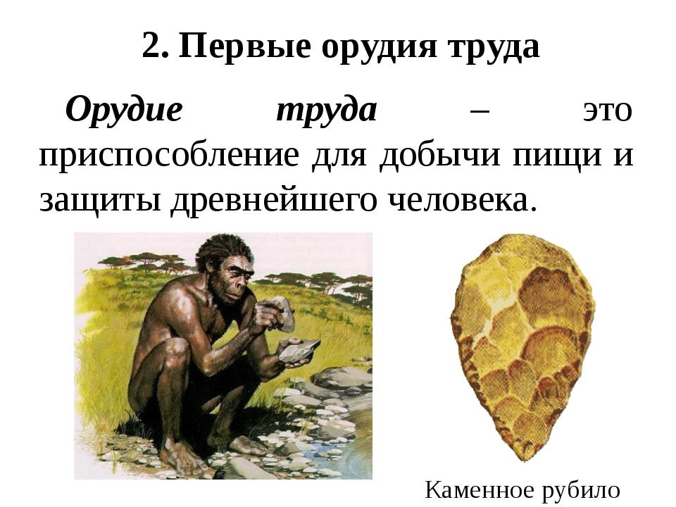 2. Первые орудия труда Орудие труда – это приспособление для добычи пищи и за...