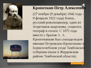 Кропоткин Петр Алексеевич (27 ноября (9 декабря) 1842 года - 8 февраля 1921 г
