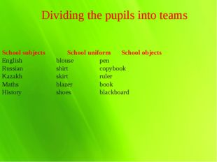 Dividing the pupils into teams School subjects			School uniform	School object