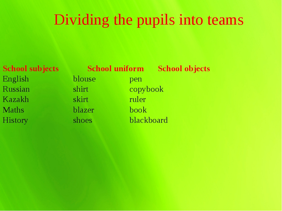 Dividing the pupils into teams School subjects			School uniform	School object...