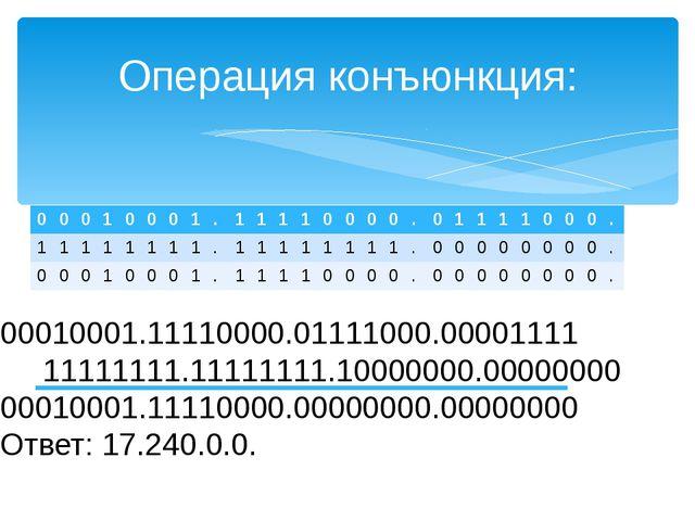 Операция конъюнкция: 00010001.11110000.01111000.00001111 11111111.11111111.10...