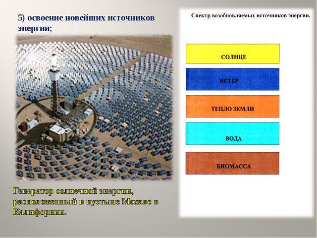 5) освоение новейших источников энергии;