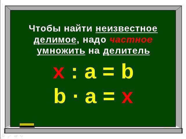 Чтобы найти неизвестное делимое, надо частное умножить на делитель х : а = b...