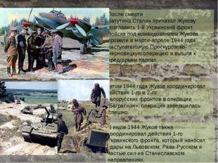 После смерти ВатутинаСталинприказал Жукову возглавить1-й Украинский фронт.