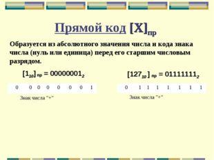 Прямой код [X]пр Образуется из абсолютного значения числа и кода знака числа