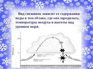Вид снежинок зависит от содержания воды в том облаке, где она зародилась, те