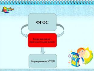 ФГОС Коррекционная –образовательная работа Формирование УУД!!!