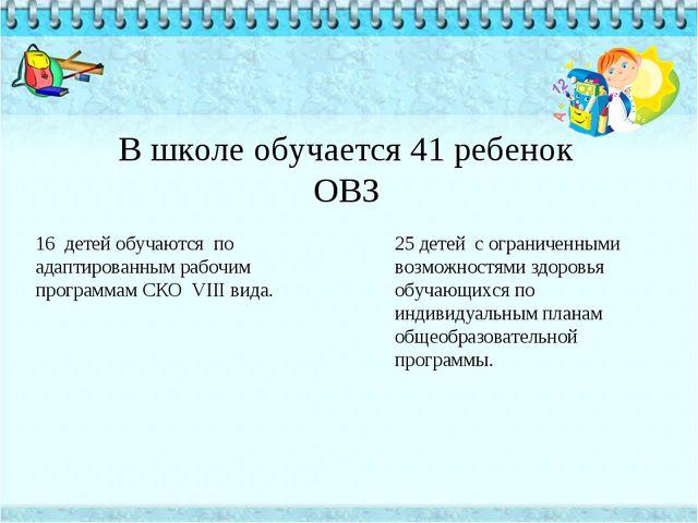 В школе обучается 41 ребенок ОВЗ 16 детей обучаются по адаптированным рабочим...
