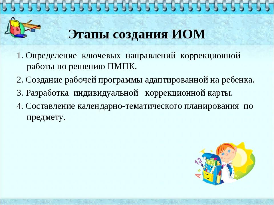 Этапы создания ИОМ 1. Определение ключевых направлений коррекционной работы п...