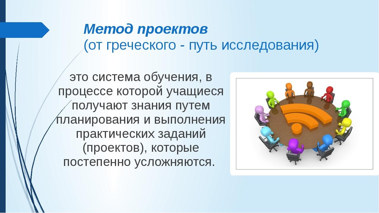 Метод проектов (от греческого - путь исследования) это система обучения, в пр...