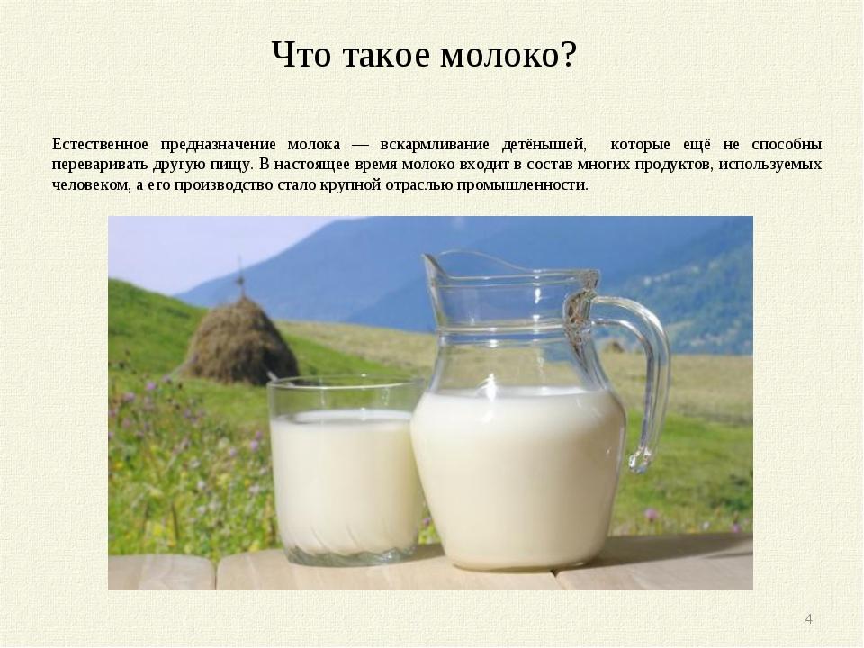Что такое молоко? Молоко́ — питательная жидкость, вырабатываемая молочными же...