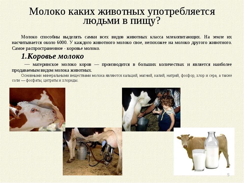 Молоко каких животных употребляется людьми в пищу? Молоко способны выделять с...