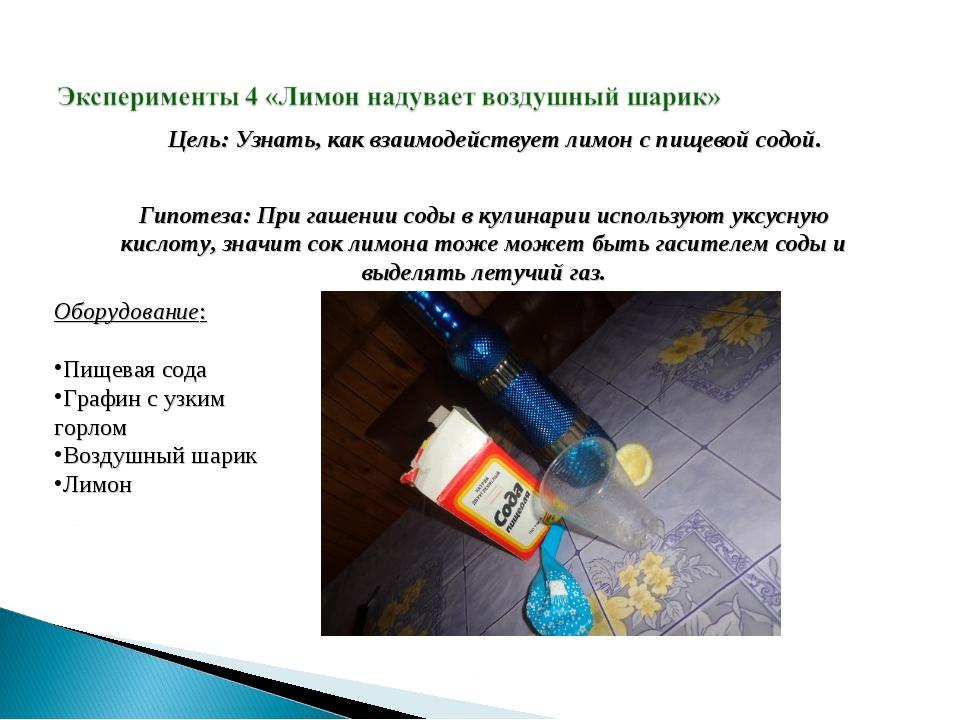 Цель: Узнать, как взаимодействует лимон с пищевой содой. Гипотеза: При гашени...