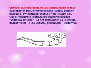 Силовая выносливость мышц-разгибателей спины оценивается временем удержания
