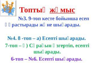 Топтық жұмыс №3. 9-топ кесте бойынша есеп құрастырады және шығарады. №4. 8 -т