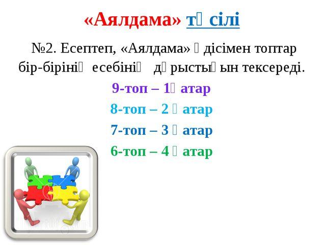 «Аялдама» тәсілі №2. Есептеп, «Аялдама» әдісімен топтар бір-бірінің есебінің...