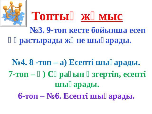Топтық жұмыс №3. 9-топ кесте бойынша есеп құрастырады және шығарады. №4. 8 -т...