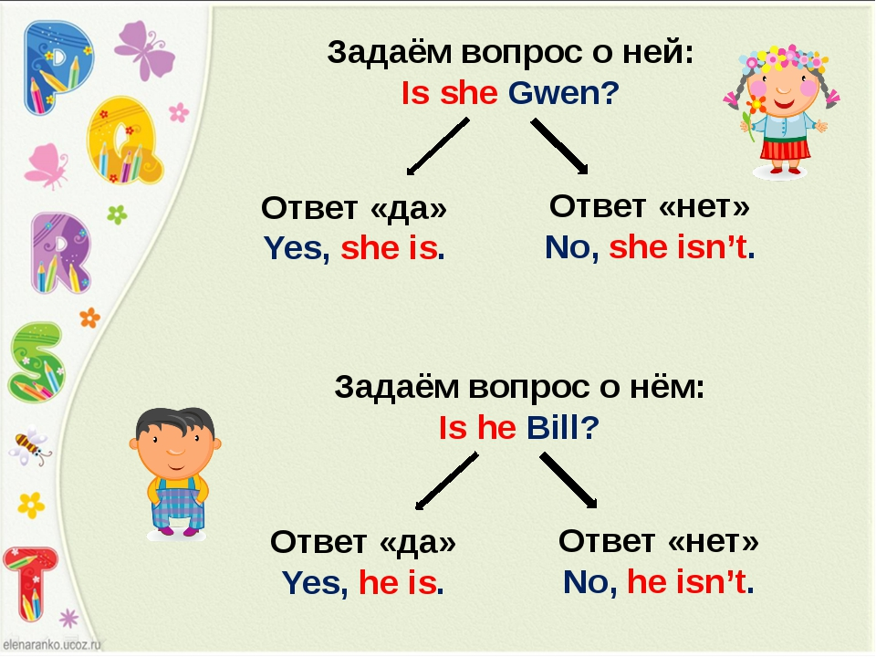 Ответ «да» Yes, she is. Ответ «нет» No, she isn't. Задаём вопрос о ней: Is sh...