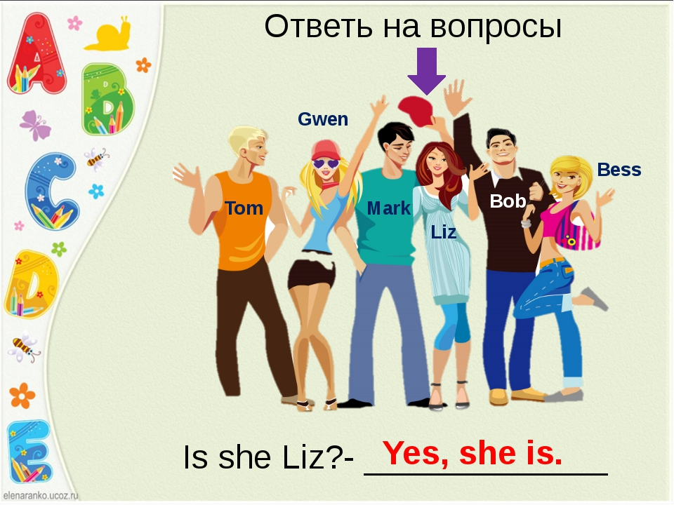 Bess Bob Liz Mark Gwen Tom Ответь на вопросы Is she Liz?- _____________ Yes,...