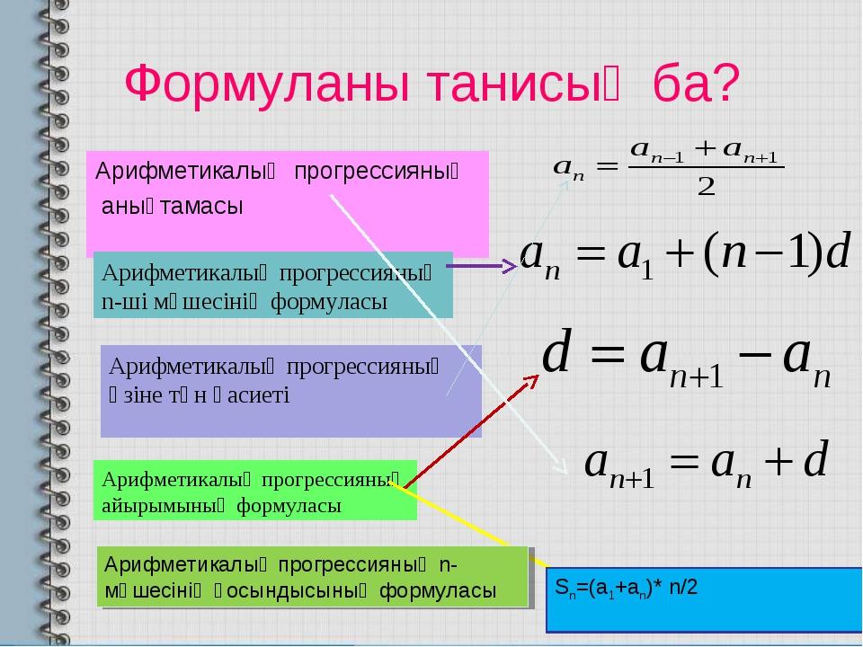 Формуланы танисың ба? Арифметикалық прогрессияның анықтамасы Арифметикалық пр...